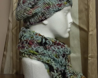 Hand knitted Hat and Scarf set