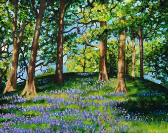 "Print 5 x 7"" Bluebell Woods , forest, landscape painting, nature"