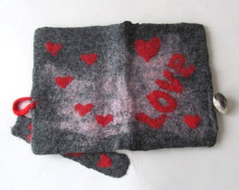 Felted journal cover Original felt cover Felt notebook cover Grey Pink Red personal journal cover personal gift gift under 25 valentine gift