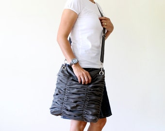 Clothing Gift, Poetry in Grey / Gray / Pleated Bag / Shoulder Bag / Diaper Bag / Large / Ruffles Bag /  Cross Your Body / Choose your Color