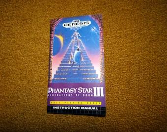Sega Genesis Phantasy Star III Generations of Doom reprinted manual