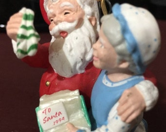 SUMMERSALE Vintage 1994 Hallmark Mr. And Mrs. Claus #9 ornament A Heart Warming Present