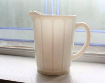 White Milk Glass Pitcher Vintage Hazel Atlas 1940s