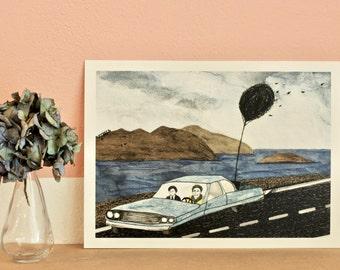 HAROLD & MAUDE-High quality Print illustration and frame
