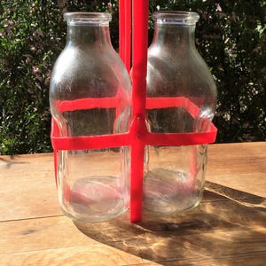 Two Half Gallon Glass Milk Bottles with Red Plastic Carrier~Glass Milk Jugs~