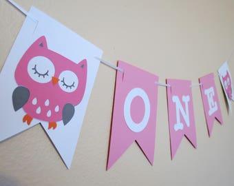 Owl High Chair Birthday Banner - 1st Birthday - ONE Banner