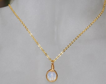 Opalite Necklace , October Birthstone Necklace , Bridesmaid Necklace , Opal Gold Necklace