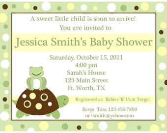20 Personalized Baby Shower Invitations   Little Turtle and Frog  - Yellow and Green