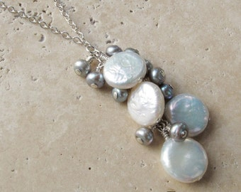 Pearl & Sterling Silver Cluster Necklace