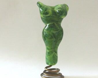 Goddess Bead Lampwork Glass Bead Focal - Green Goddess