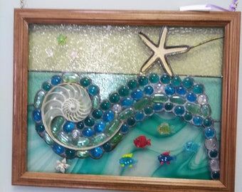 Shell & Star Fish... stained glass hanging