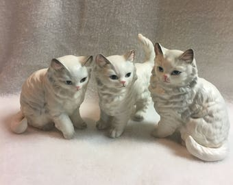 White Kitties with Blue Eyes - Set of 3 (#205)
