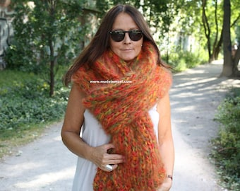 Scarf 2,5 meter Mohair hand knitted