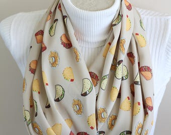 Taco Scarf Taco Tuesday Infinity Scarf Cinco de Mayo Accessories Feed me Tacos Party Fiesta Taco Lover Gift Ideas