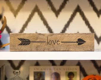 Reclaimed Wood LOVE Arrow Sign | Wedding Gift | Arrow Shelf Art | Gift for Her | Girls Bedroom Decor | Rustic Home Decor |