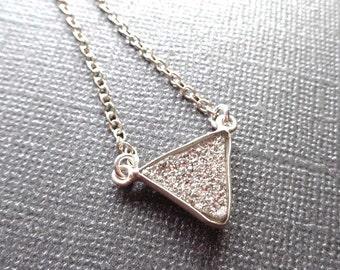 Druzy Triangle Necklace / Platinum White Drusy Triangle / Silver White Druse /- Simple Minimal Necklace / Triangle Necklace White //GD10
