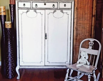 Antique French Armoire with Beautiful Ornate Details Refurbished Ballerina Pink Nursery Baby Toddler Linen Bedroom Bathroom Closet Storage