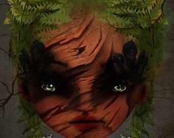 Mini fine Art Print ACEO/ATC - 'Wood Nymph' - Artists Trading Card Sized Print - Nature Fairy - Lowbrow Artwork - Jessica von Braun