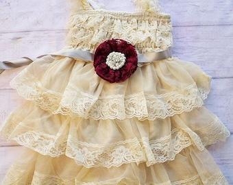 Country Flower Girl Dress, Cowboy Tan Dress, Wheat Flower Girl, Flower Girl Dress with a Sash,Rustic Lace Flower Girl Dress, Tan Flower Girl