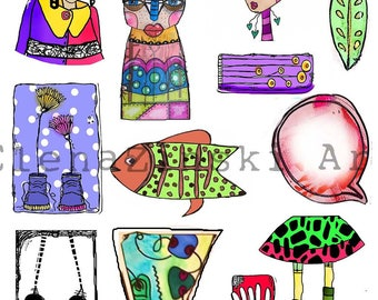 3 x A4 collage sheets