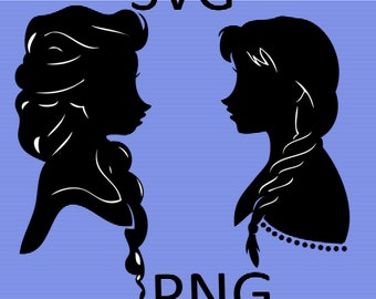 Frozen Sisters Elsa and Anna Disney Silhouette Clipart SVG-PNG, Instant Download, Digital Download,Product code#180528-A
