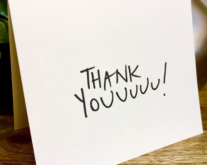 Thank Youuuu card, thank you card set unique style, simple thank you card, handlettered stationery, Bulk thank you cards, thank you set