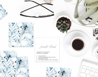 Indigo Marble Calling Cards | Business Cards | Blogger Cards | Set (50)