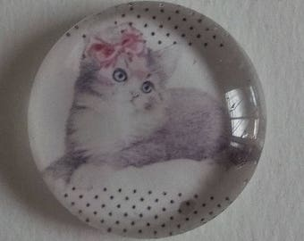 cat with pink bow cabochon, 25mm