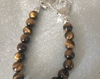 Tiger eye with handcuff clasp pearl bracelet.