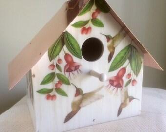 Hummingbirds and Fuchsia, Copper Roofed Birdhouse