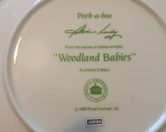 ROYAL CORNWALL Woodand Babies Decorator Plate New in Box w/Certificate What's The Buzz LTD Edition