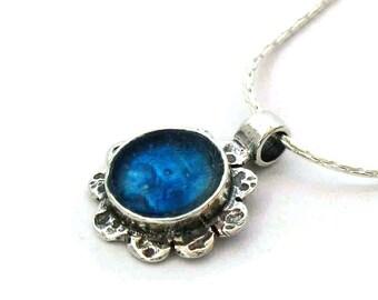 Blue Roman Glass Pendant, 925 Silver Flower Pendant, Roman Glass Flower Pendant, Small Round Roman Glass, Romantic Gift, Israel Jewelry