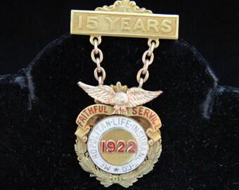 Antique 14K Yellow Gold Metropolitan Life Insurance Company MetLife 1922 15 Years Loyal Service Pin 14.3 Grams Signed RS Robert Stoll
