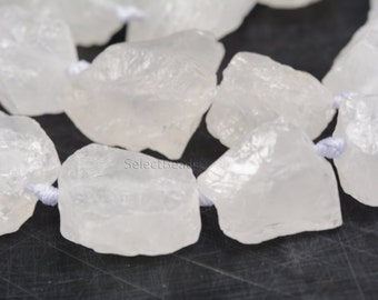 raw crystal -  rough clear quartz - rock crystal raw nuggets - rough gemstone - white stone bead - uncut gemstone - natural nugget - 15 inch