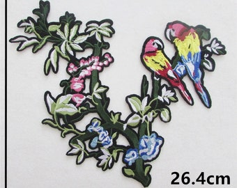 x 1 large patch-patch pattern flowers/colorful parakeets 26.4 x 23 cm @B53 fusible