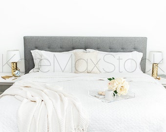 White and Gold Bed Styled Stock Photo / Styled Stock Photography / Background Product Mockup / KateMaxStock High Res File #729