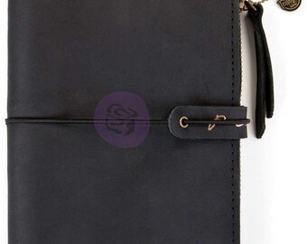 Prima Traveler's PTJ LEATHER Essential Journal NIGHTFALL Black Personal #630430