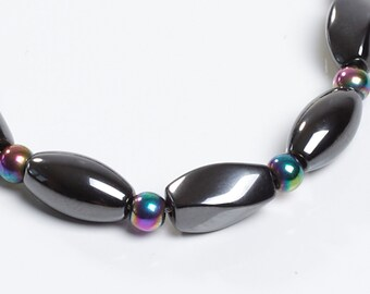 Fun Rainbow and Black Magnetic Therapy Necklace by Happy and Healthy