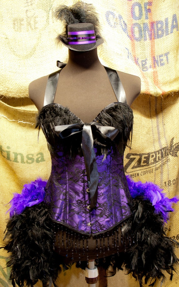 PURPLE MARTIN Black Saloon dress Costume burlesque corset dress wth feathers