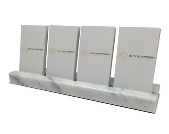 Business card holder white carrara marble office desk multiple verical business card holder white carrara marble holds 4 vertical cards office colourmoves Image collections