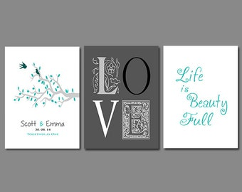 First Paper Anniversary Gift - Wedding Gift - New Home - Add Any Wording of Your Choice - Available in Any Color Set of Three Prints