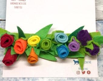 Rainbow, Felt Flower Headband, Rainbow Baby Gift, Flower Girl Headband, Festival Headband, Floral Crown, Girls Headband, Nylon Headband