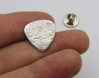 Father's Day Fingerprint Jewelry, Silver Fingerprint Guitar Pick Tie Tack, Guitar Pick Fingerprint, Silver Tie Tack, Hat Pin, Lapel Pin
