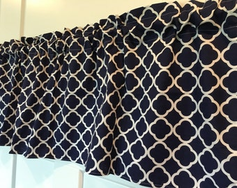 Navy Blue and White Geometric Curtain Valance