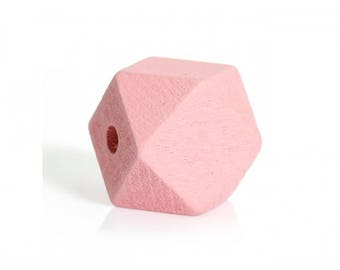 Pink 10 polygons painted wooden beads 20mm