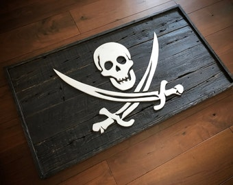 Jolly roger Pirate flag made from reclaimed wood. Custom 3D wood pirate flags.
