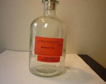 Czech Lab Bottle - Glowing Glass Decor Piece with Bright Orange Label clear