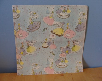 Vintage Wedding Gift Wrap 60's Bridal Shower Wrapping Paper Fabulous Ladies Gowns Pastel Retro Kitsch Fabulous 1960's