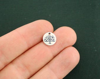 4 Tree of Life Charms Antique Silver Tone Small Size Beautiful Detail - SC7058