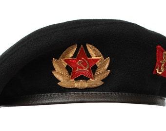 Russian black Beret Marines USSR with badge Soviet Navy summer hat Military uniform headdress, wool cap